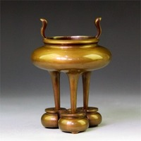 Gold snail decoration 6 band circle furnace refined copper man playing furnace copper incense burner