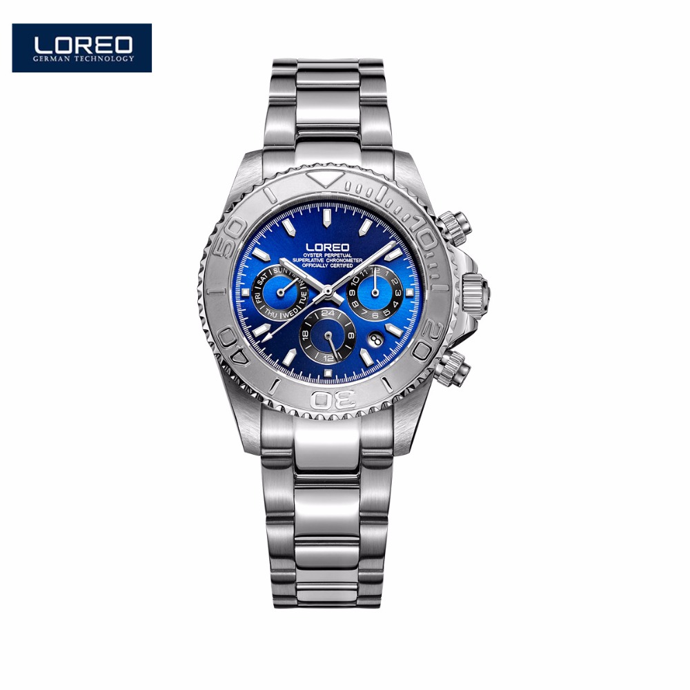 LOREO Fashion Sport Watches Men Watch Mechanical Wristwatches Stainless Steel Strongest Luminous Waterproof 200m AB2055 loreo s automatic fashion men s mechanical wrist watch waterproof stainless steel belt luminous chronograph diver watch ab2034