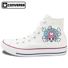 Unisex Design Converse Chuck Taylor Shoes One Piece Tony Chopper Anime White Black Canvas Sneakers High Top Flat