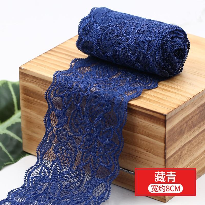 HTB1b79BbsvrK1Rjy0Feq6ATmVXaq 8cm Spandex Lace Elastic Crafts Sewing Ribbon White Black Stretch Lace Trimming Fabric Knitting Material DIY Garment Accessories