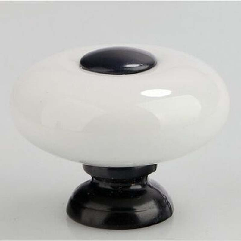 Modern Simple white ceramic drawer cabinet knob black dresser cupboard door pull knob 32mm white black