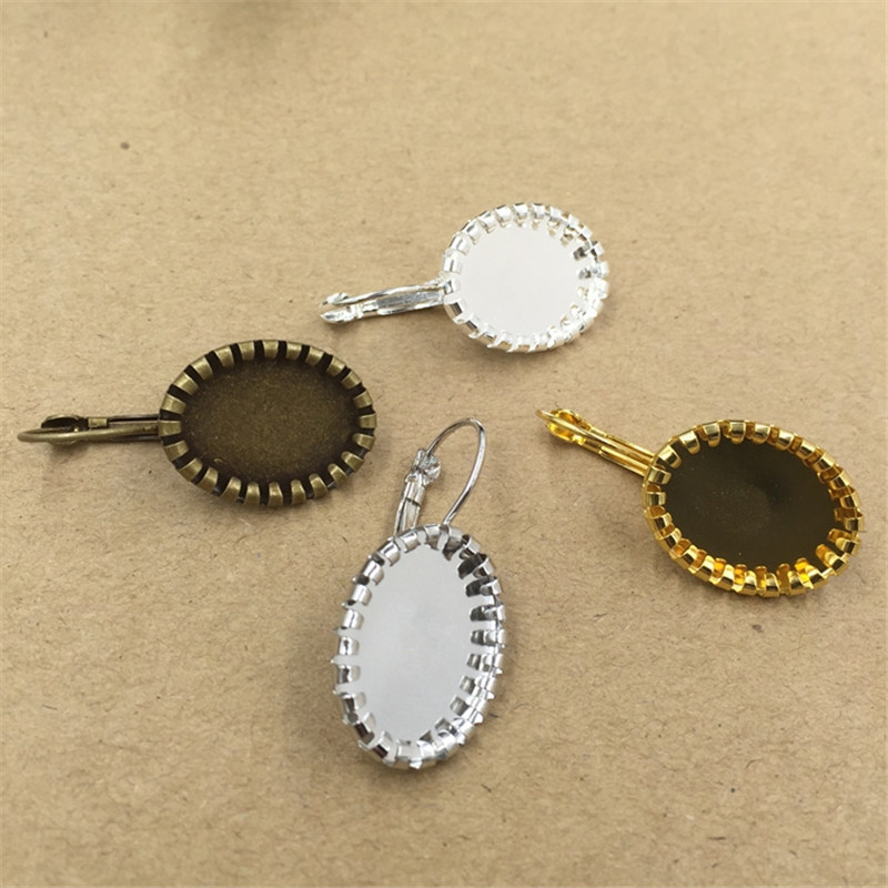 13 18mm Oval Cabochon Base 4 Colors Plated Copper Earring Blank Tray Clip Earrings Base Settings