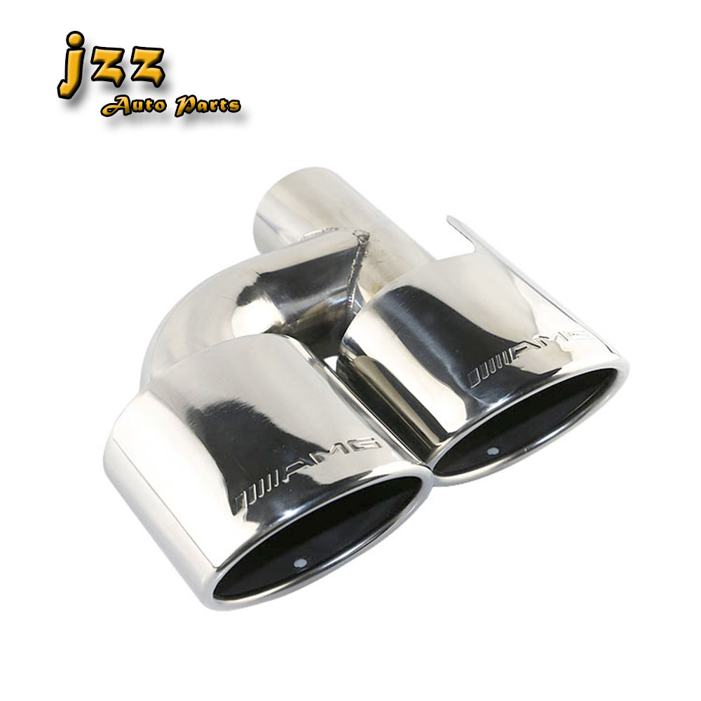 JZZ 1pcs Auto the exhaust pipe on the car dual end pipe stainless steel muffler tips for Mazda 63mm inlet universal dual stainless steel muffler for vehicles exhaust pipe 63mm inner diameter