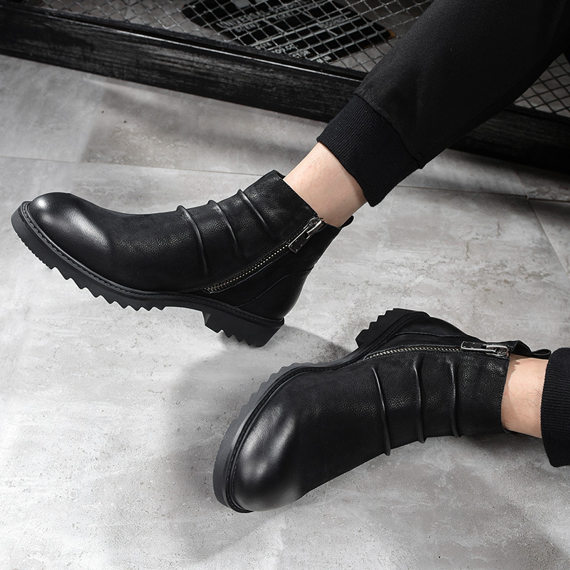 Homens Vintage Montaria De Homens Queda Preto Inglês Novos Dos Couro Botas Do Altos Couro Chelsea Sapatos CB1w5q