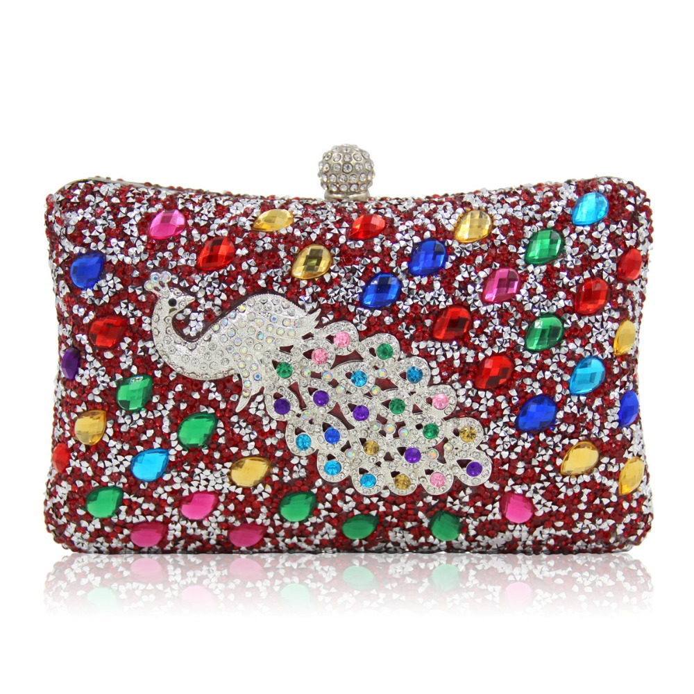 New Arrival Women Evening Bags Peacock Diamonds Small Purse Bag With Chain Shoulder Day Clutches Evening Bag For Wedding/Party om olympique de marseille bordeaux