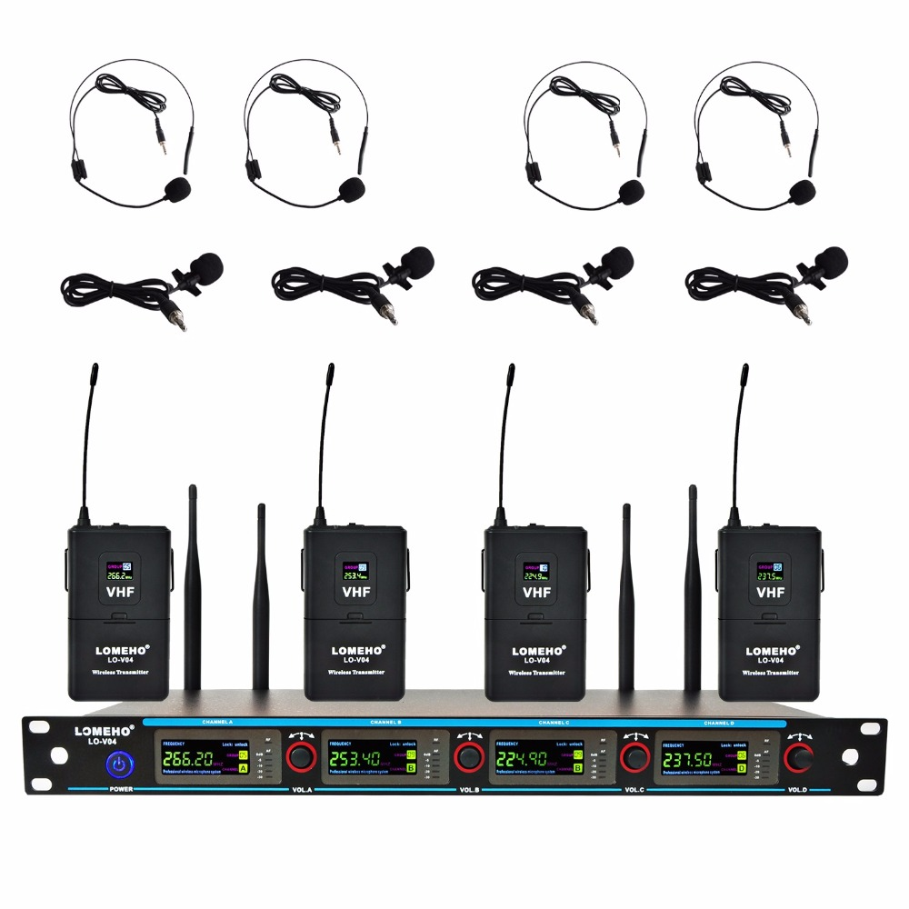 цена LOMEHO LO-V04 4 Channels 4 Headsets Karaoke KTV Party Church VHF Wireless Microphone