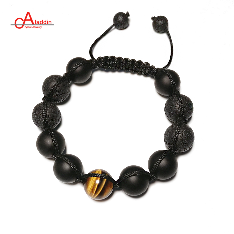 Aladdin 2018 New Punk Style Handmade Chakra Bracelets Nature Yellow Tiger Stone & Polish Black Onxy Bead Bracelet for male gift