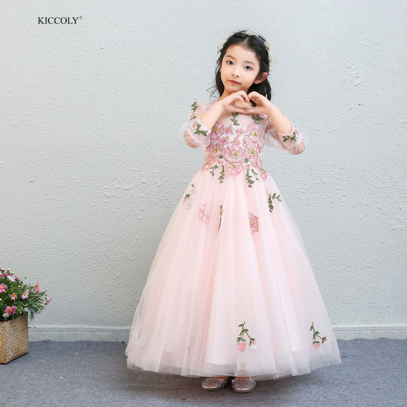 KICCOLY 2018 Pink Appliques Flowers Girl Dresses Elegant Lace Princess Dresses Wedding Party For Baby Kids First Communion GownKICCOLY 2018 Pink Appliques Flowers Girl Dresses Elegant Lace Princess Dresses Wedding Party For Baby Kids First Communion Gown