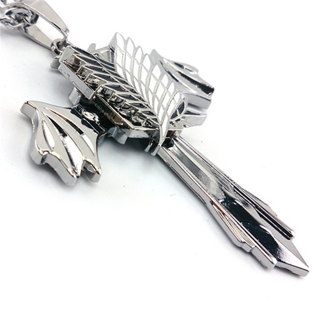 Anime Attack On Titan Cross Wing Pendant Necklace