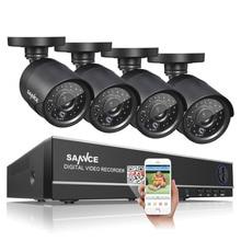 SANNCE Sistema 720 P HDMI DVR Kit CCTV 1200TVL 4CH AHD Kits de Visión Nocturna Resistente Al Agua 4 Cámaras de Vigilancia de Seguridad Al Aire Libre