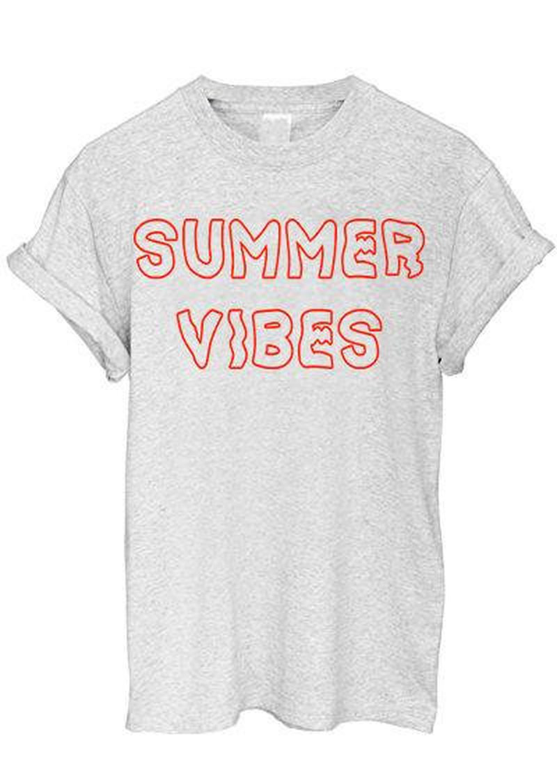 Women Summer Vibes T-shirt Aesthetic Tubmlr Hipster Grunge Graphic Tee Tops Harajuku Short Sleeve Plus Size Streetwear Clothes