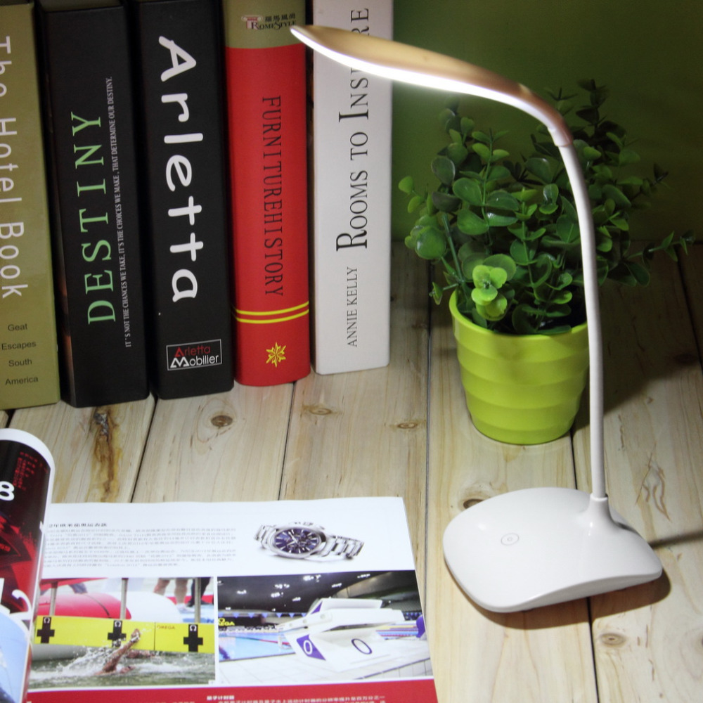 Adjustable USB Rechargeable Touch Sensor LED Reading Light Desk Table Lamp Children Reading Night Light Home Study 2016 H