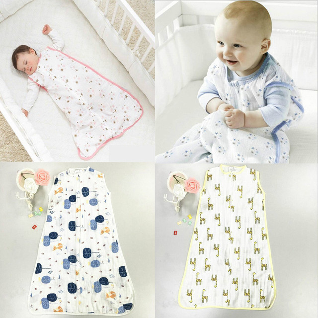 100% Muslin Cotton Aden Anais Baby Thin Sleeping Bag For Summer Newborns Saco De Dormir Para Bebe Sacks