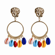New Vintage Multicolor Circle Alloy Earring Bohemian Scallop Shell  Drop Earrings For Women