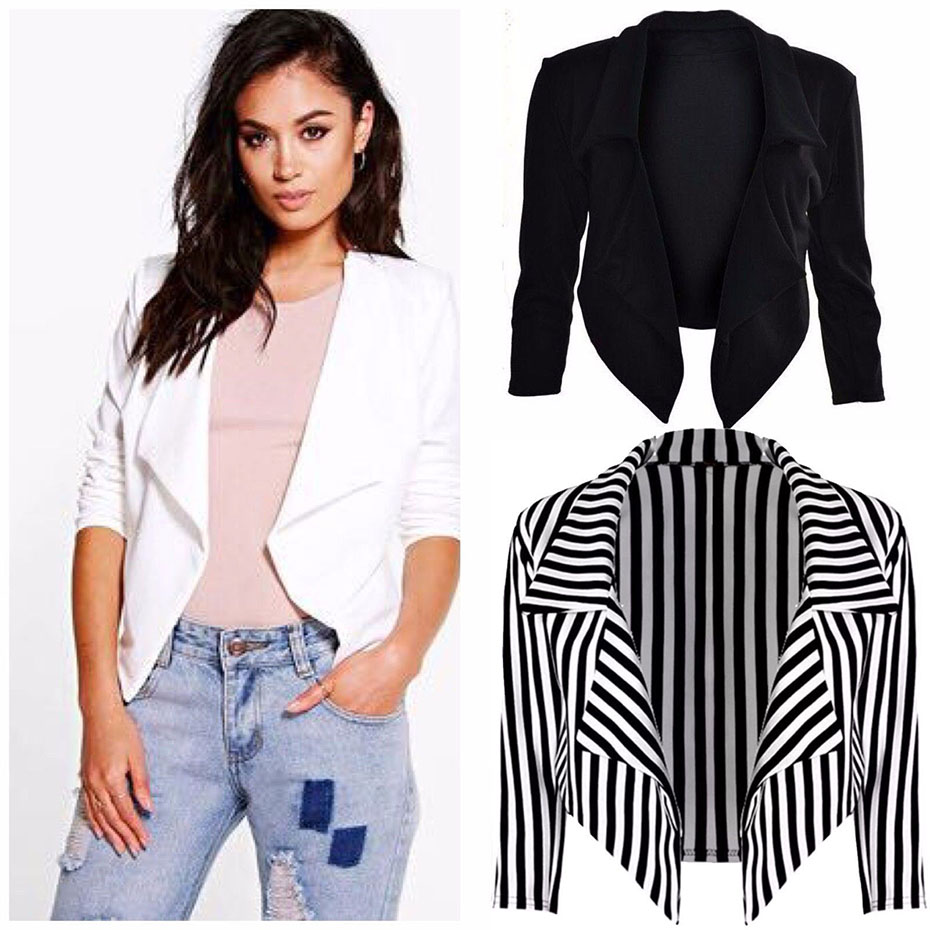 ZOGAA New Black Whit Blazer Women Stripe Suits Feminino Sexy Cardigan Long Sleeve Women Blazers And Jackets Autumn Winter Coats