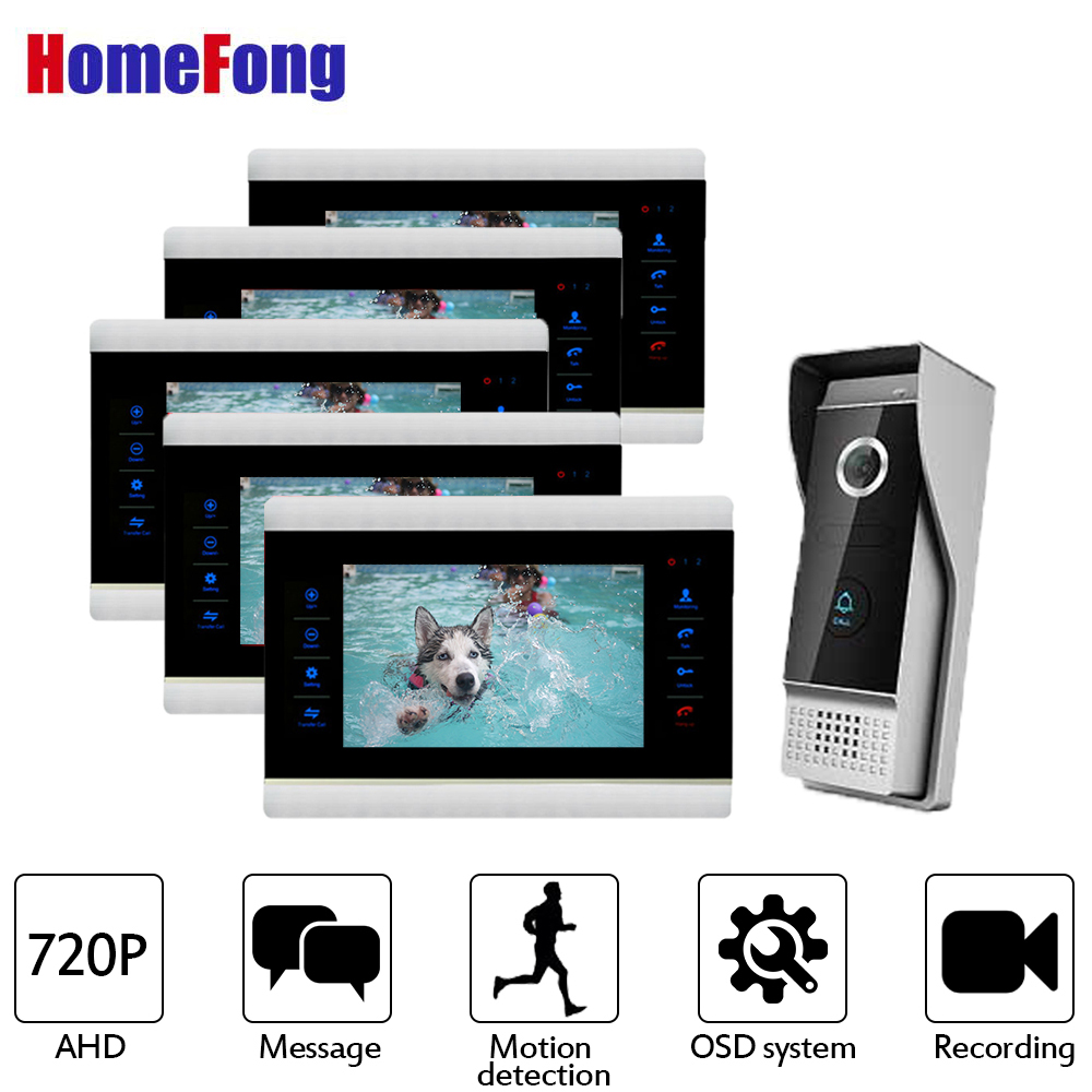 Homefong7 Inch HD Video Door Phone Doorbell Intercom System 720P AHD   5 Monitors 1 Doorbell Wired Waterproof Record AlarmHomefong7 Inch HD Video Door Phone Doorbell Intercom System 720P AHD   5 Monitors 1 Doorbell Wired Waterproof Record Alarm