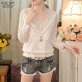 2016 New Arrival Hot Sale Spring and  Autumn Korean Fashion Women Blouse V Neck Long Sleeve Slim  Lace Female Shirt  63C 30