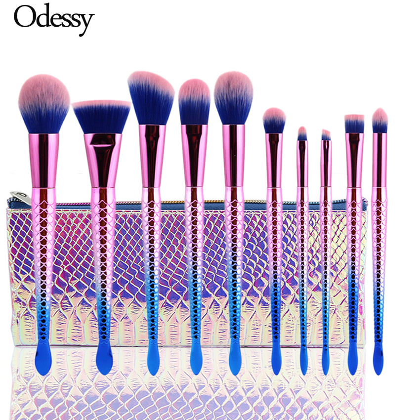 10pcs mermaid makeup brushes set pink high quality for Fish tail brush