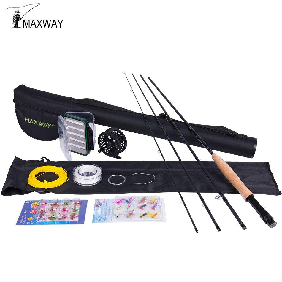 Maxway 3/4 5/6 7/8 pesca con mosca conjunto caña de pescar de carbono Metal Carrete con la línea archivos línea pesca rod Combo
