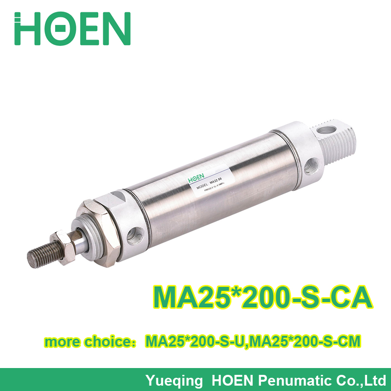 High quality MA series Airtac type MA25*200 Stainless steel Pneumatic Air Cylinder MA 25-200 MA25-200 mgpm63 200 smc thin three axis cylinder with rod air cylinder pneumatic air tools mgpm series mgpm 63 200 63 200 63x200 model