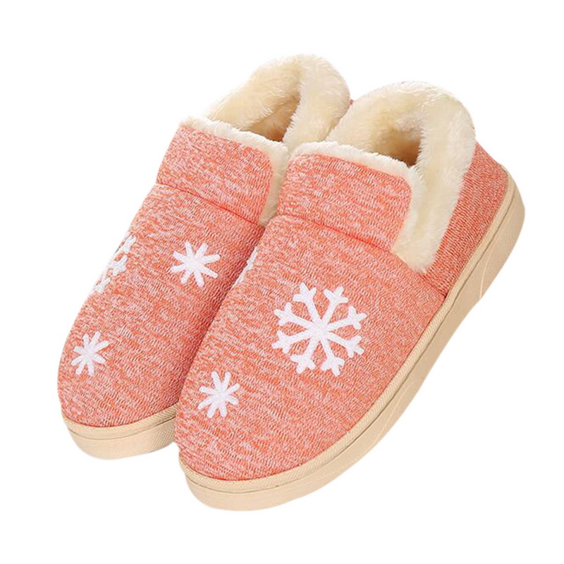 Couple Home Cotton Slippers Small Fresh Non-slip Warm Month Bag With Cotton Shoes Indoor Floor Bedroom Warm Plush Shoes