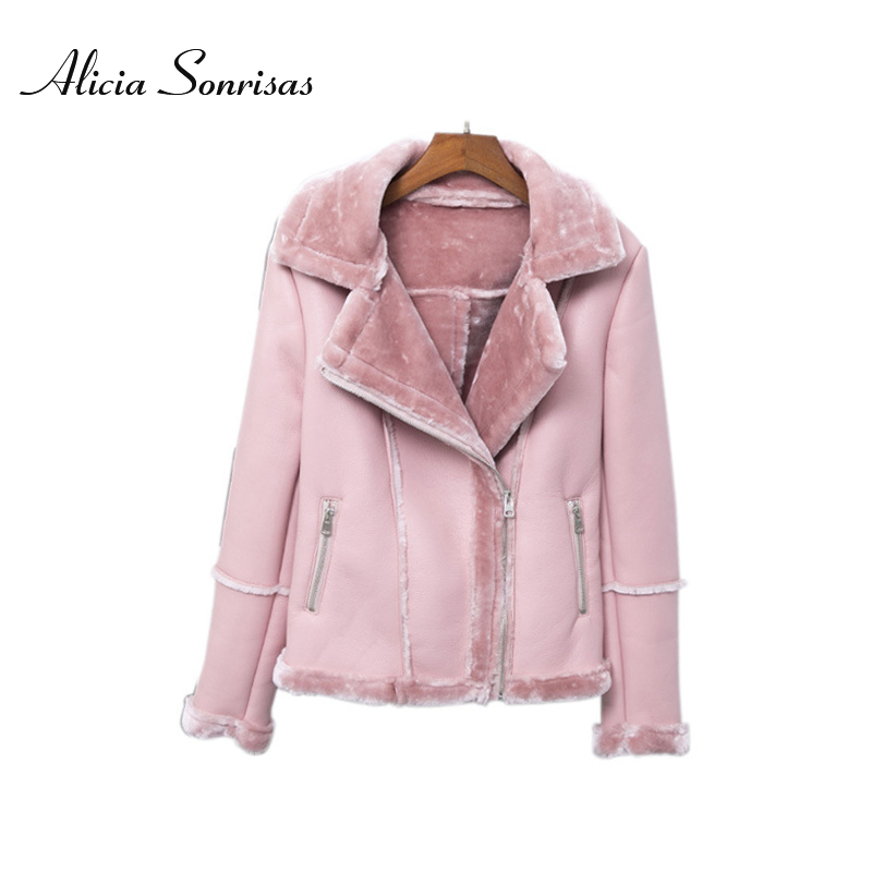 2018 Winter Faux Sheepskin Shearling Coat New PU Leather Warm Motorcycle Street Coat 3 Colors Long Sleeve AS1333