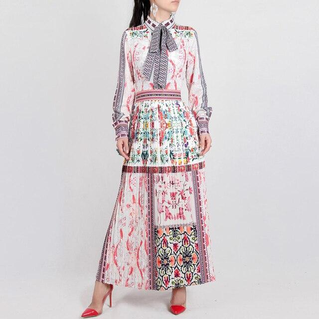 חדש נשי שמלה עבור גברת 2018 אביב באיכות גבוהה הדפסת תורו למטה צווארון נשים של המותניים צרות מעצב ארוך שרוול קפלים שמלה