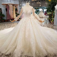 LSS156 see through new wedding dress illusion o neck poet long sleeves lace up back beauty wedding gown with train free shipping