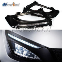 2x Car Styling LED Daytime Running Lights Bright 12 DRL With Black Fog Light Cover For