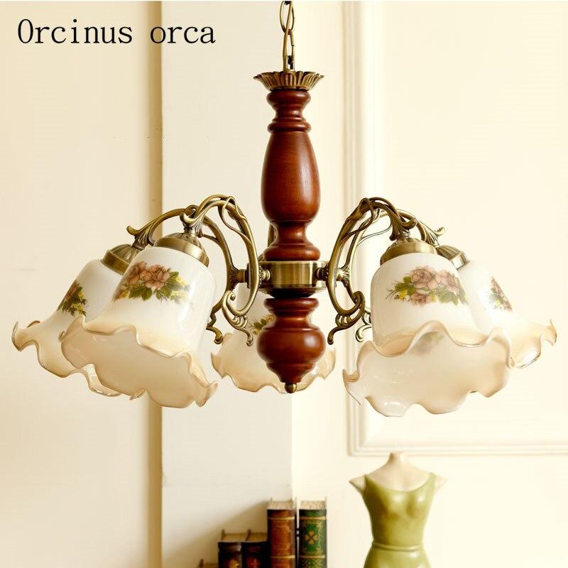 Méditerranée antique vitrail lustre salon chambre Américain jardin pays LED Lustre en bois massif