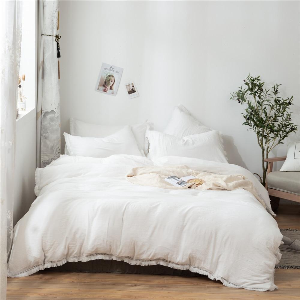 2/3Pcs/set White Fringed Tassel Duvet Cover Set Polyester & Cotton Comforter Bedding Set US EU Sizes NO SHEET