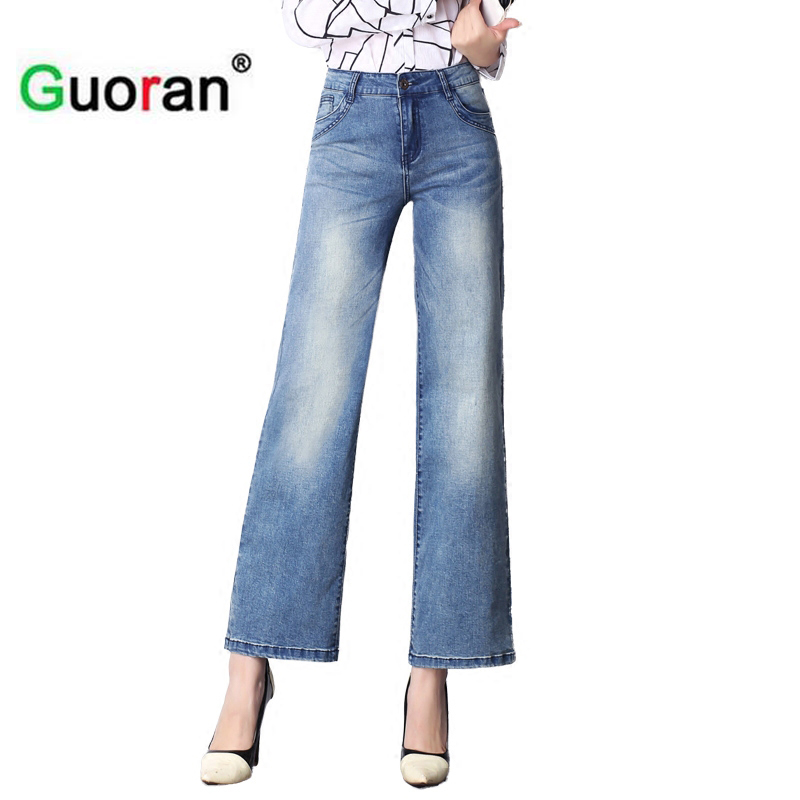 {Guoran} Loose casual jeans pant for women 2017 summer with high waist white blue denim jeans trousers femme pantalon 26-33