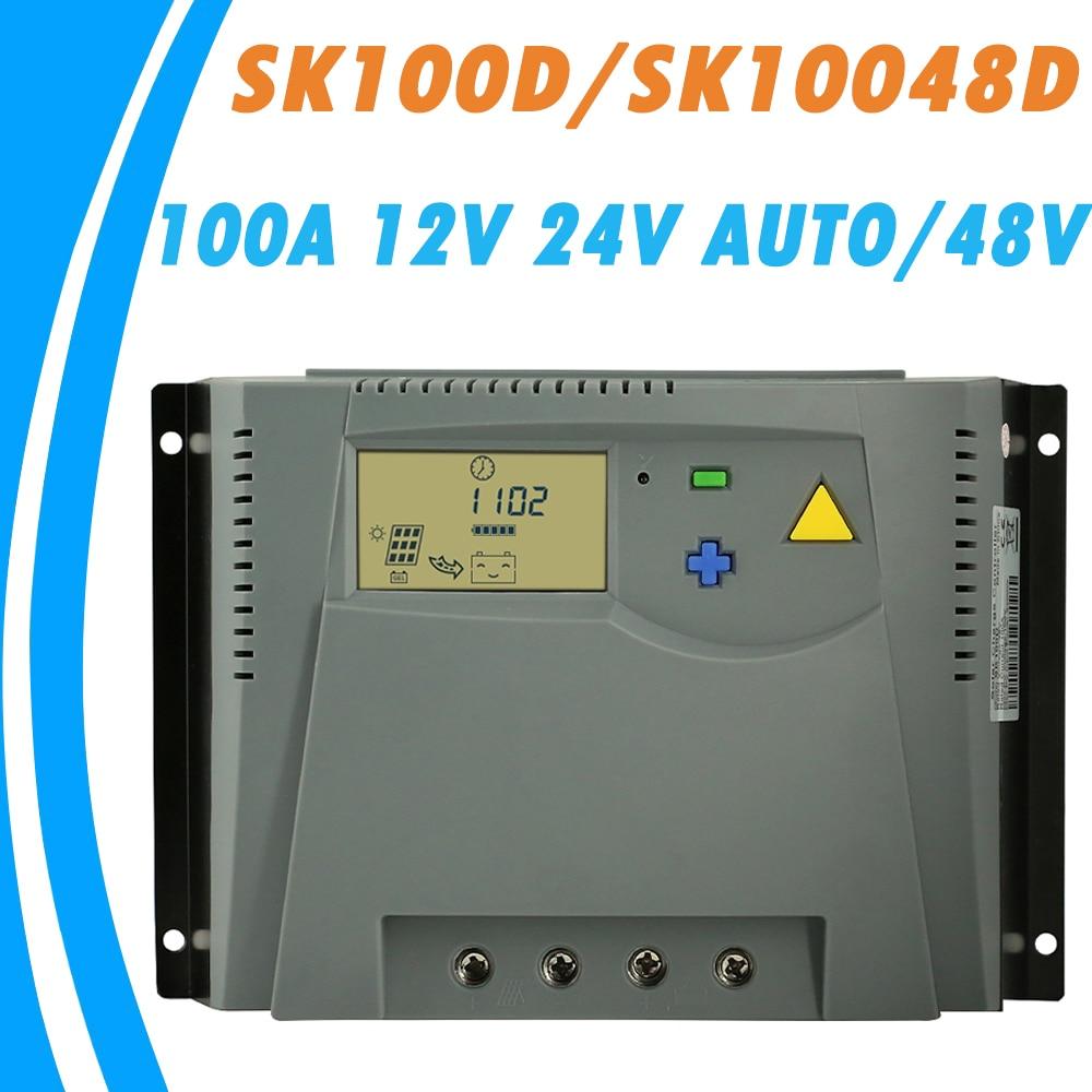 100A de Charge Solaire Contrôleur 12 v 24 v Auto ou 48 v Solaire LCD Régulateur Simple Bouton Fonctionnement pour En Vrac flottant d'absorption Égalisé