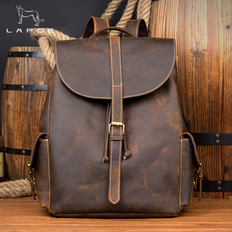 LAPOE Men Crazy Horse Genuine Leather Backpack Vintage Casual Male Rucksack Brown Cowhide Leather Daypack for Man Hand bags лента 015122 arlight