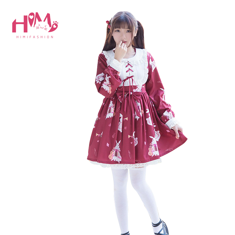 Christmas Lolita Woman's Dress Lace Bow Decoration Fashion Court Style Dresses Long-Sleeved Preppy Cute Little Rabbit Red White
