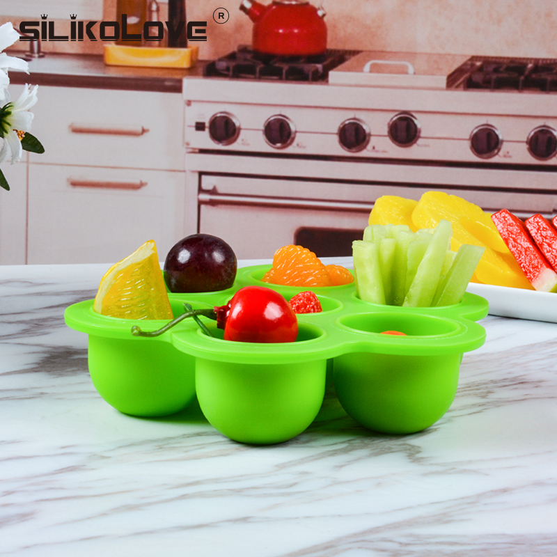 Safety Silicone Baby Infant Flower Lattice Portable Food Container Sprout Cups Candy Fruit Nuts Storage Box Jelly Ice Cube Freez