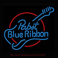 New Pabst Blue Ribbon Guitar Neon Sign Store Display Handcrafted Neon Bulbs Glass Tube Neon Professional Real Glass Neon 19x15
