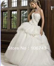 free shipping 2014 new style hot sale Sexy bride good quality sweet princess Custom size handmade beading flowers wedding dress