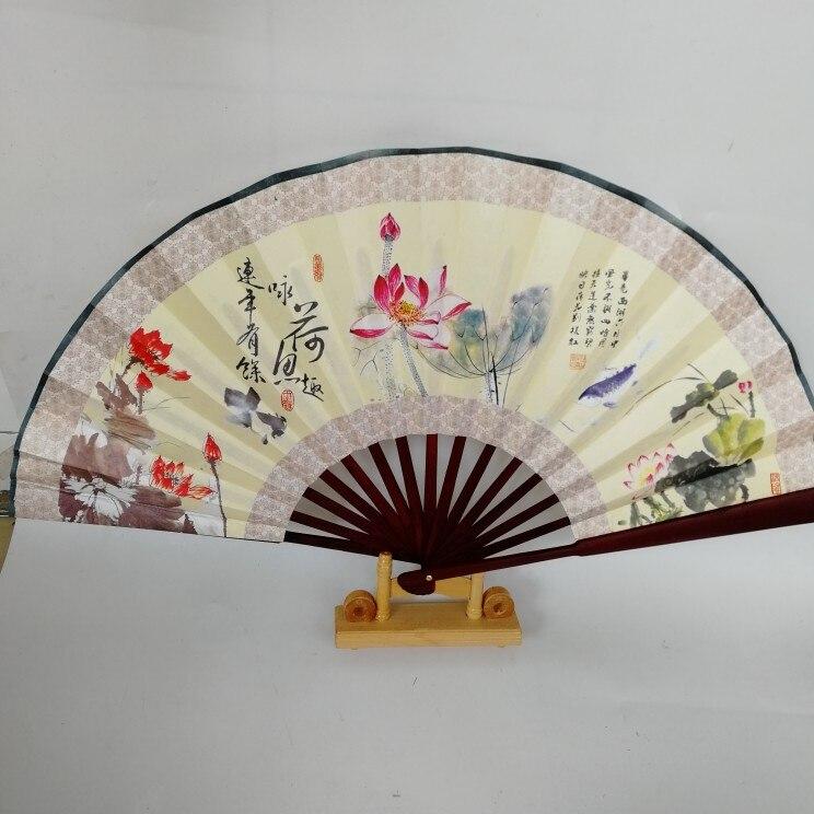 """1"""" украшенный Шелковый складной Ручной Веер человек большой бамбуковый китайский Печатный веер из ткани традиционное ремесло свадебные сувениры веер - Цвет: lotus"""
