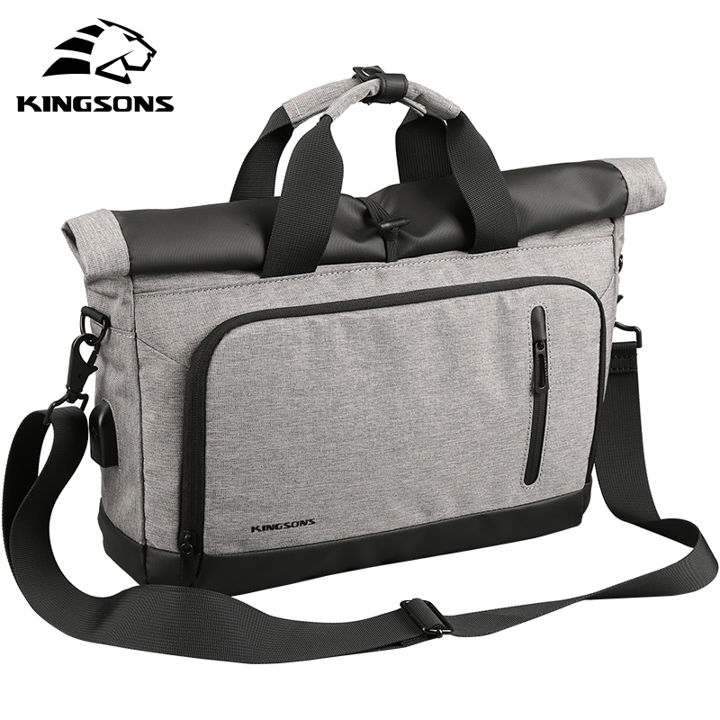 Kingsons Mens 14 Inch Laptop Business Travel Bag USB Charge Tote Briefcases Crossbody Ba ...