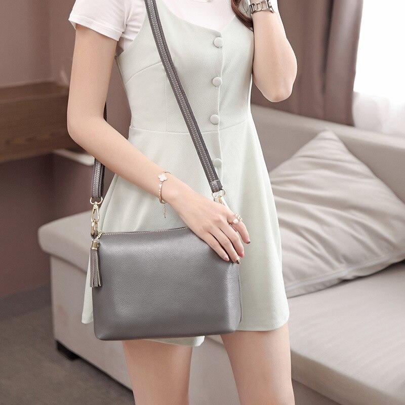 ФОТО Hot Sale Fashion Women's Leather Bag Women Messenger Bags Tassel Shoulder Bag For Women Small Solid Color Bolsa Feminina