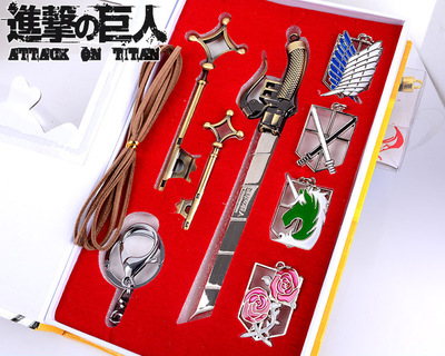Anime Attack on Titan 8PCS/LOT Shingeki no Kyojin Eren Metal Brooches Necklace PVC Action Figure Cosplay Toys  недорого
