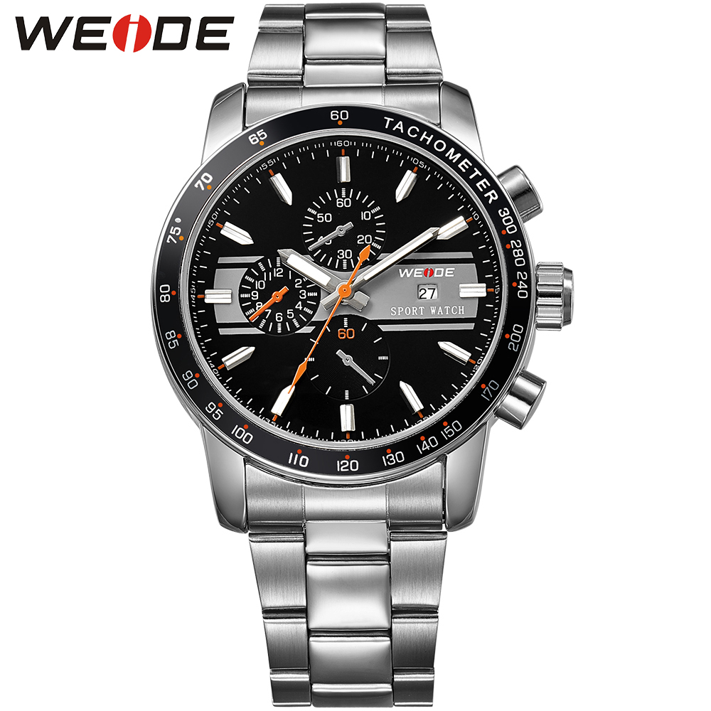 ФОТО WEIDE Unique Watches for Men Sports Japan Movement Quartz Full Stainless Steel 3ATM Water Resistant Wristwatch Gifts For Men