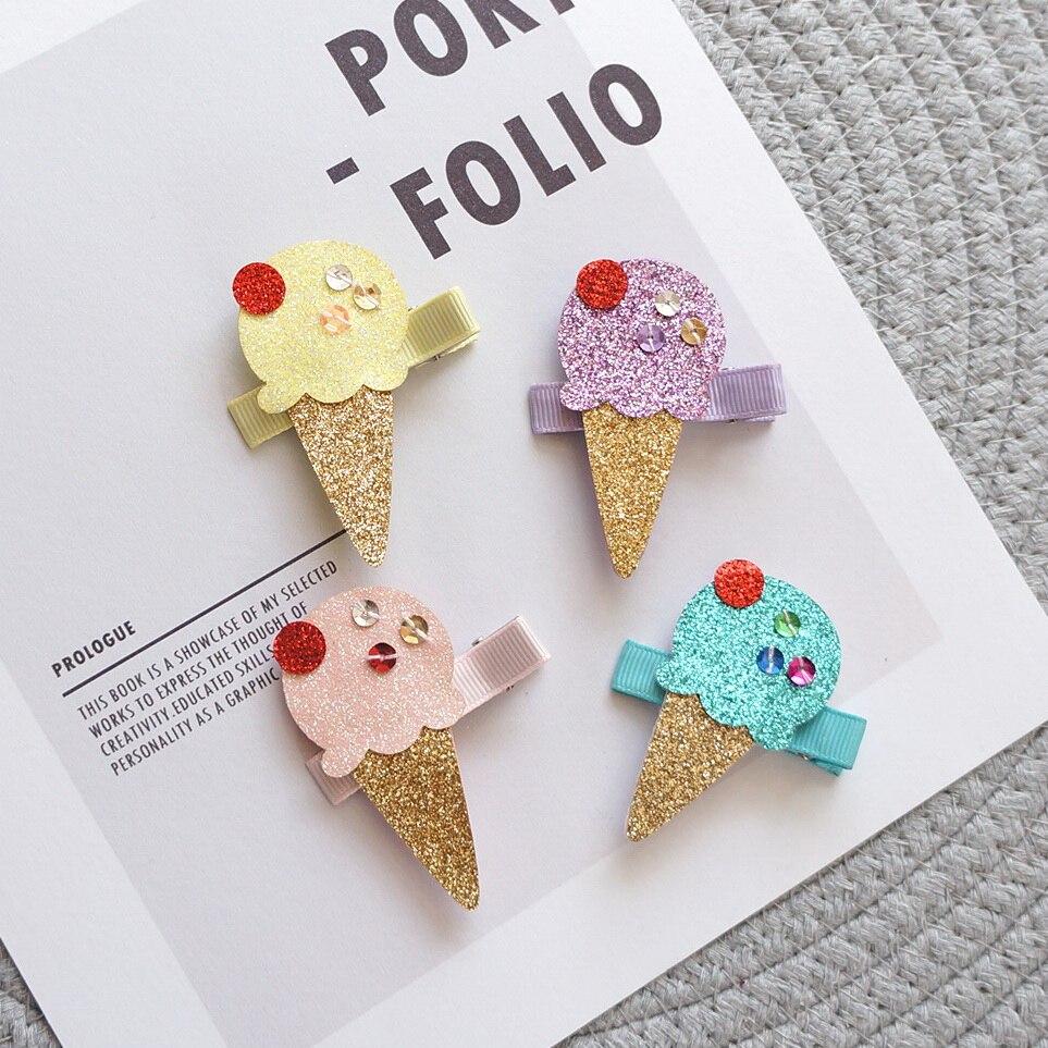 Boutique 20pcs Fashion Cute Felt Icecream Hairpins Kawaii Solid Glitter Icecream Cone Hair Clips Princess Headware Accessories