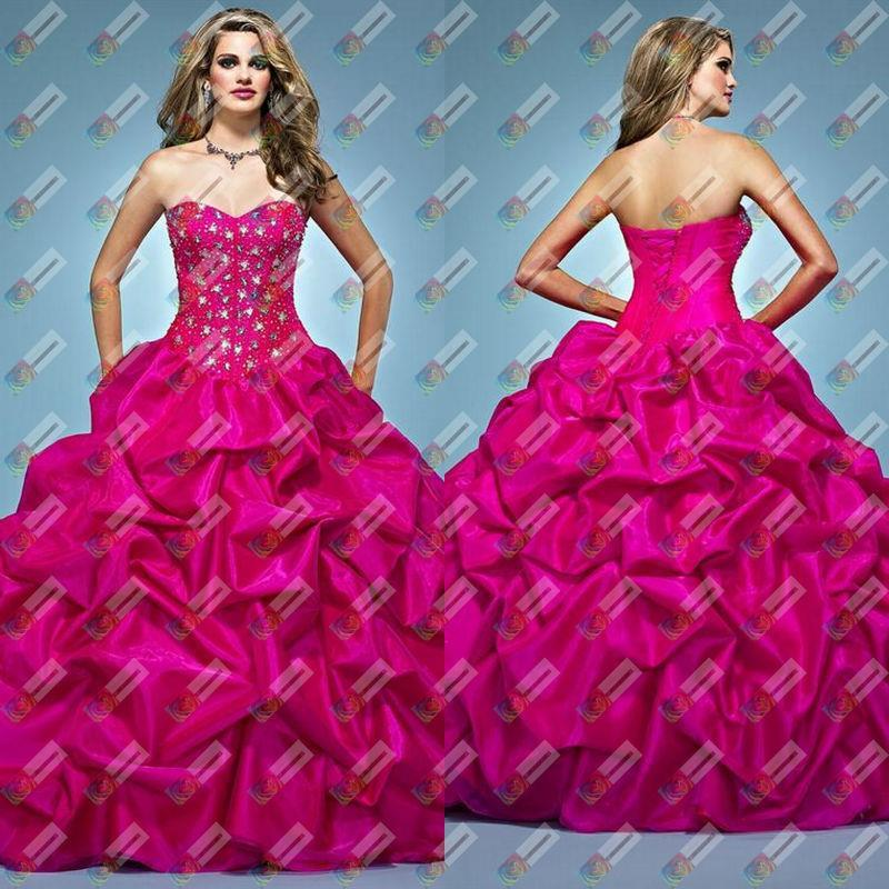 Quinceanera Dresses Hot Pink Sweetheart Rhinetone Details