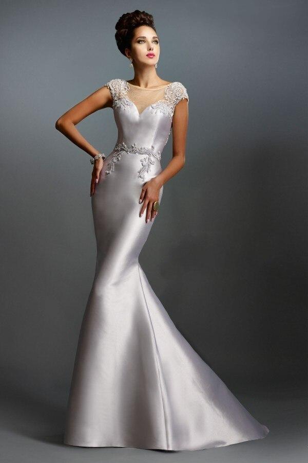 Elegant Mermaid Formal Gowns For Women Wear White Satin ...