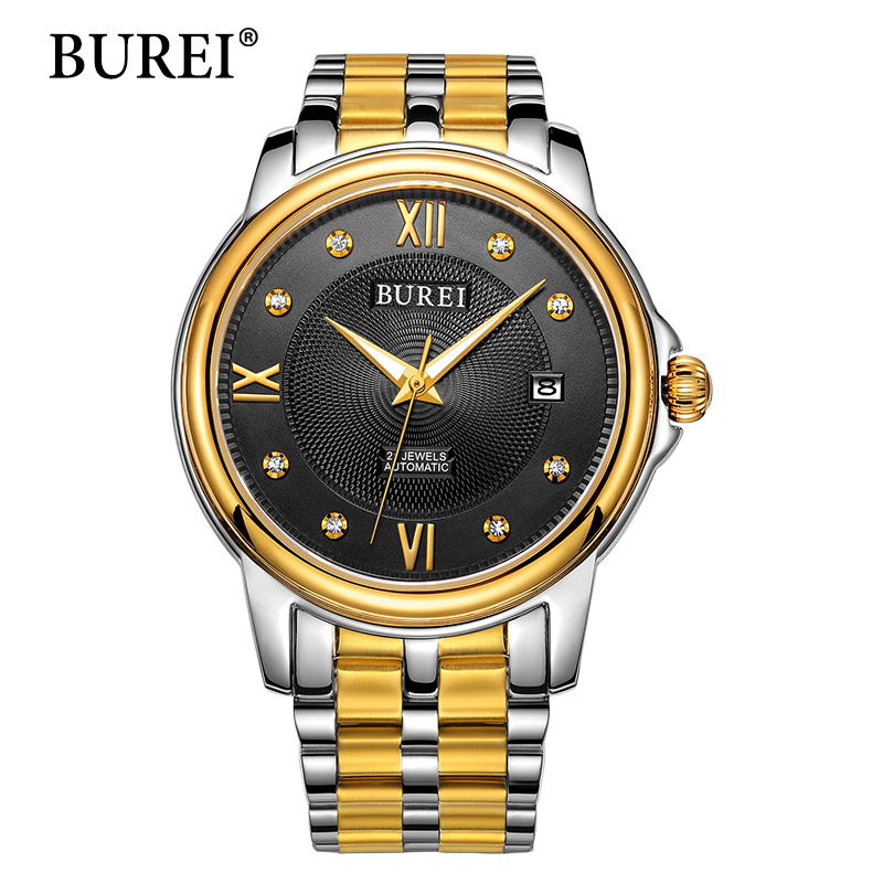 BUREI Men Mechanical Watches Top Luxury Brand Male Gold Clock Sapphire Date Waterproof Automatic Watch New Steel Band Hot Sale free shipping custom murals classic red marble wall mural sofa bedroom tv backdrop wallpaper corridor kitchen