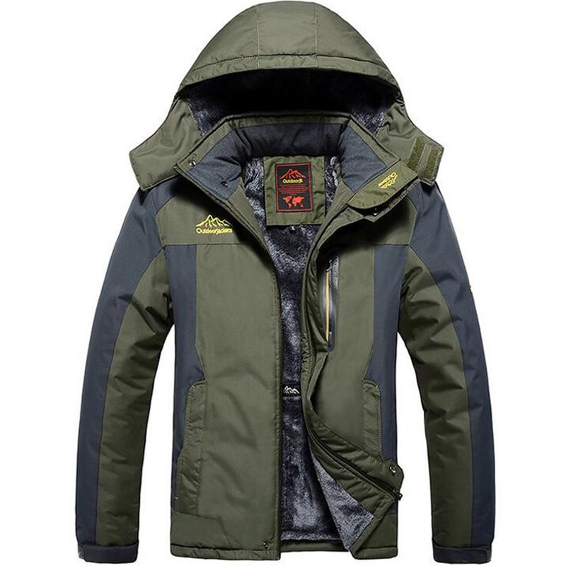 Winter Thicken Warm Jacket Men Fleece Parka Coats Plus Velvet Waterproof Windbreaker Military Jacket Outwear Raincoat Size L-9XL