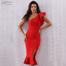 Adyce Zomer Bodycon Rood Een Schouder Bandage Jurk Vrouwen Sexy Zwarte Ruches Club Mermaid Dress Celebrity Avond Party Dress(China)