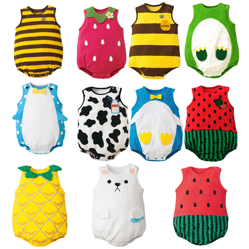 Summer <font><b>Baby</b></font> <font><b>Clothes</b></font> <font><b>Unisex</b></font> Sleeveless One-pieces Infant Jumpsuits Playsuit Newborn Boys Girl Animal Strawberry Costume Cosplay image